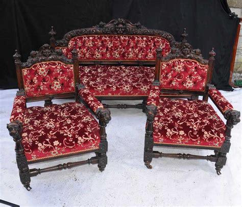antique oak carved  piece suite sofa arm chair english