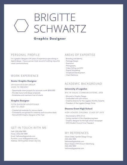 Chronological Resume Graphic Design by Graphic Designer Resume Templates By Canva