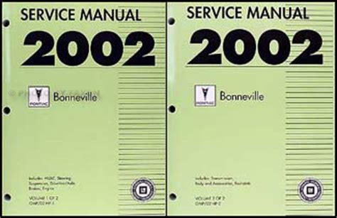 free car repair manuals 1987 pontiac bonneville instrument cluster 2002 pontiac bonneville repair shop manual original 2 volume set