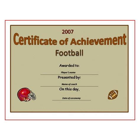 Football Certificate Templates by 5 Best Images Of Free Printable Football Award Templates