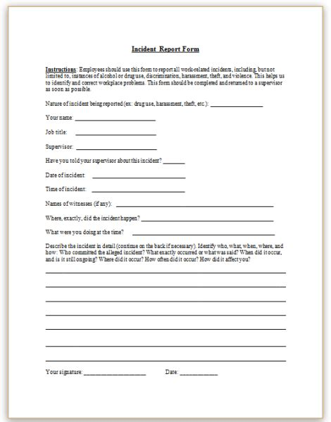 17889 sle incident report form employee report sle teacheng us