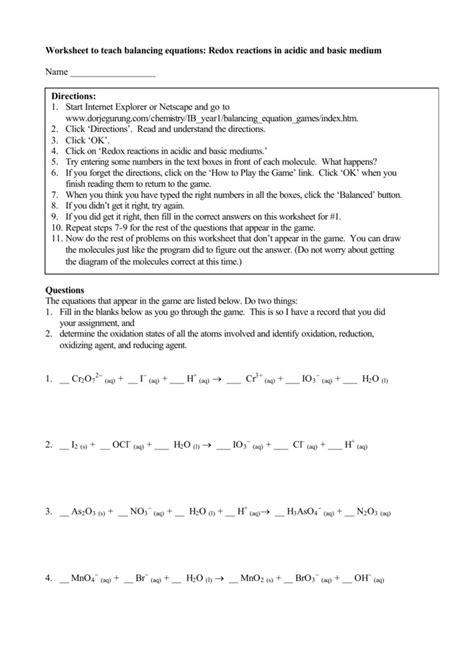 worksheet balancing equations fill   blank tessshebaylo
