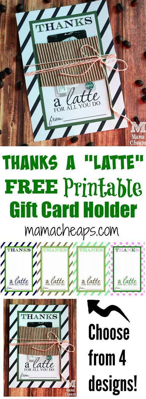 latte  printable gift card holder teacher