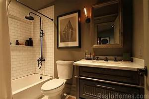 3rd Full Bathroom With Edison Caged Wall Light  Weathered Oak Medicine Cabinet  Exposed Shower