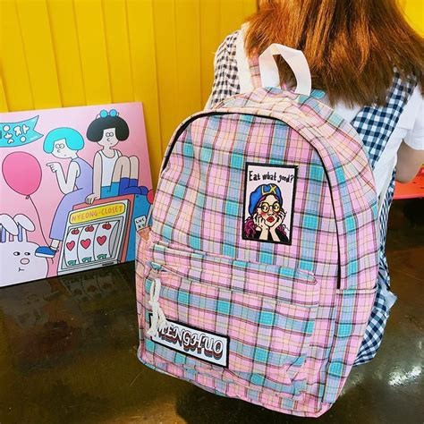 itgirl shop aesthetic coloursful plaid girls drawings