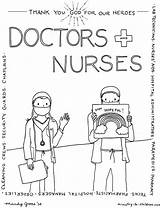 Coloring Healthcare Heroes Thank Nurses Workers Doctors Printable Children Hospital Nurse Doctor God Care Sheets Ministry Preschool Pharmacy Bible Security sketch template