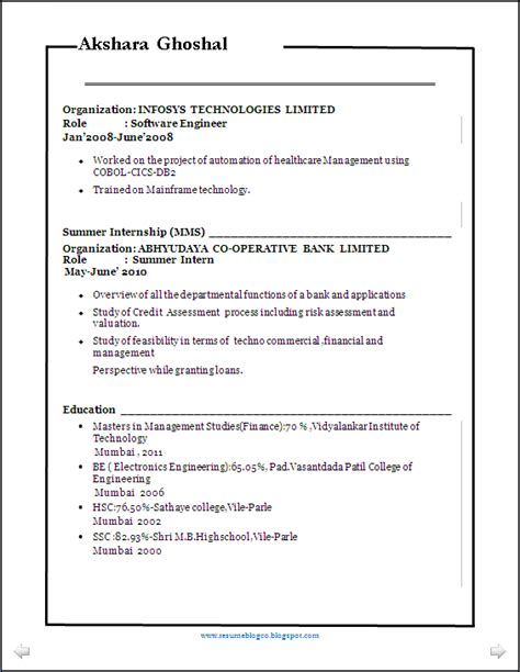 Resume Format 2014 Doc by Resume Co Better Resume Sle Mba Fin Be