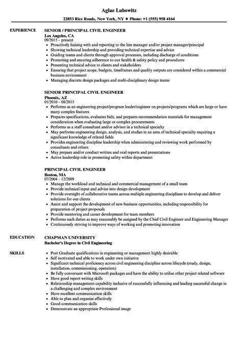 principal civil engineer resume sles velvet