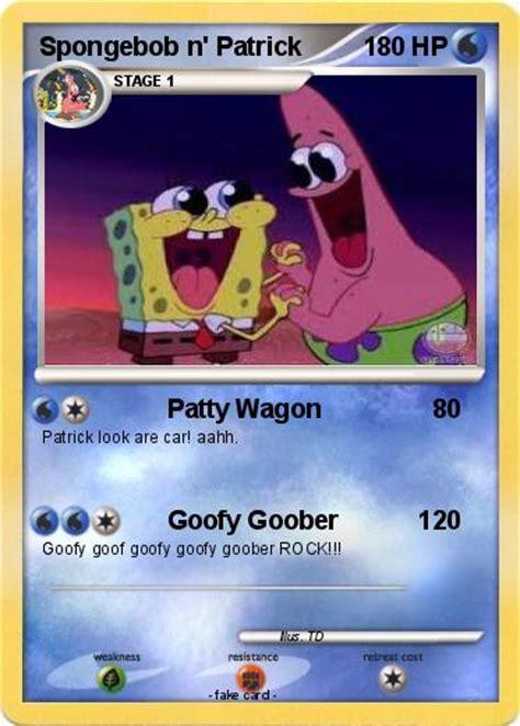pokemon spongebob  patrick patty wagon  pokemon card