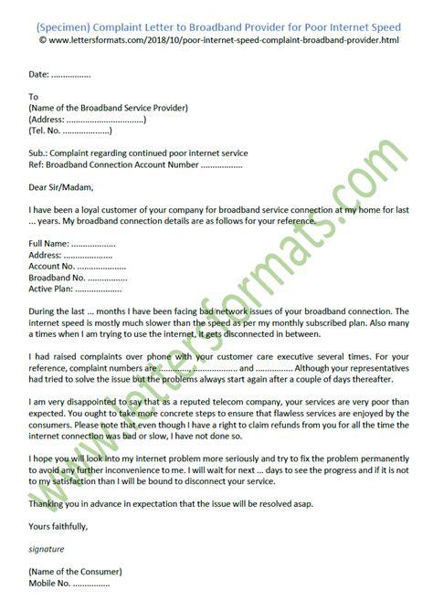 complaint letter  broadband provider  poor internet