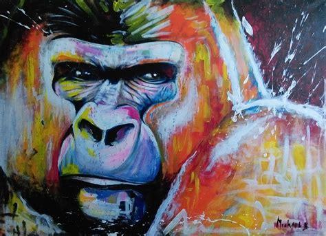 peinture a l acrylique sur toile peinture acrylique toile couleur animal gorille tableau reproduction peintures par mickab