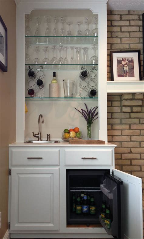 built  wet bar  converted  mirror backed book shelf