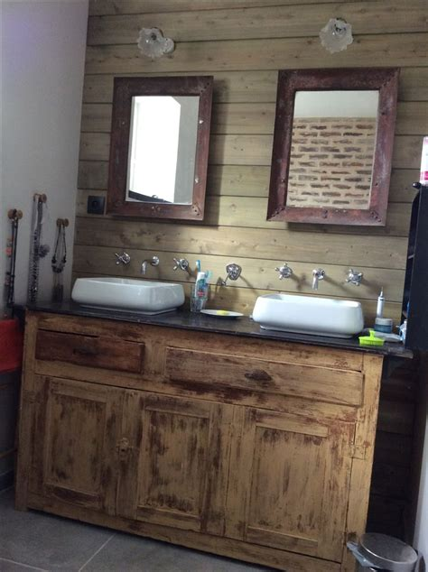 meuble de salle de bain avec meuble de cuisine idée décoration salle de bain salle de bain rétro