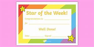 star of the week award certificate star of the week With star of the week certificate template