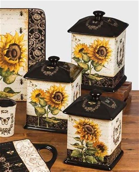 sunflower canister sets kitchen french sunflowers canister set by certified international features artwork by tre sorelle
