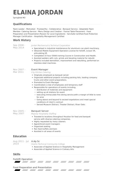 banquet server resume sles visualcv resume sles