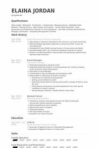 Banquet waitress resume