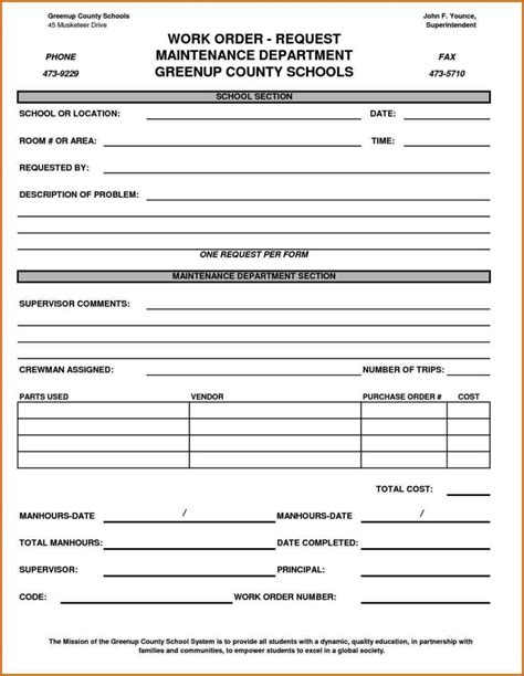 maintenance work order form template sampletemplatess