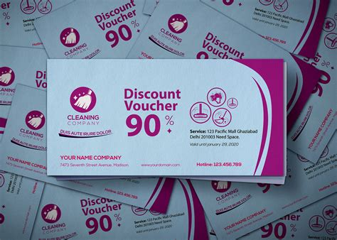 cleaning service gift voucher design template effects