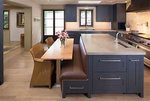 modern kitchen design with incredible built in banquette With built black kitchen island in your modern home
