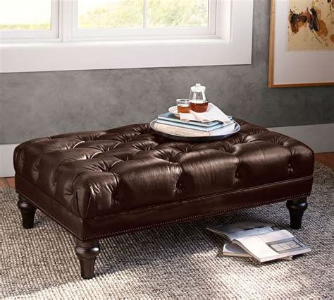 pottery barn leather ottoman bollinger tufted leather ottoman pottery barn
