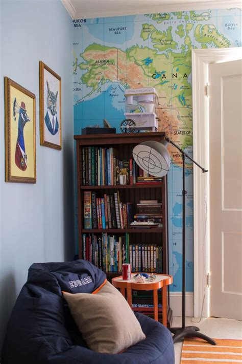 boys reading nook features world map accent wall hgtv