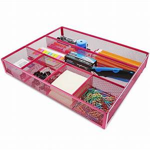 Pink, Mesh, Metal, Office, Desk, Drawer, Organizer, Tray, 15, X, 12, X, 2, 5, Inches
