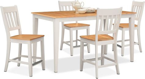 Nantucket Counter-height Table And 4 Slat-back Chairs