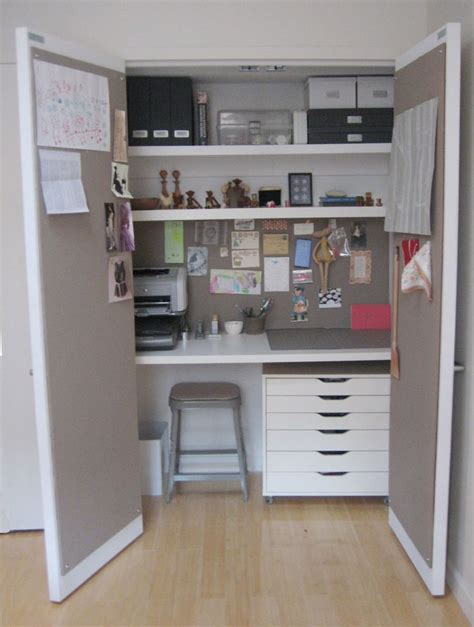 desk in a closet closet desk craft room ideas pinterest
