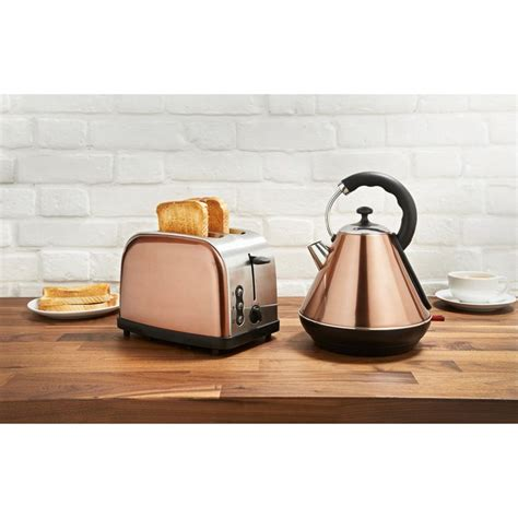 coloured toaster and kettle set copper breakfast set boasting a sleek and stylish copper