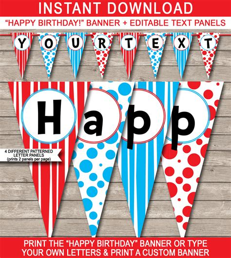 Thing 1 Editable Template by Dr Seuss Party Banner Template Birthday Banner