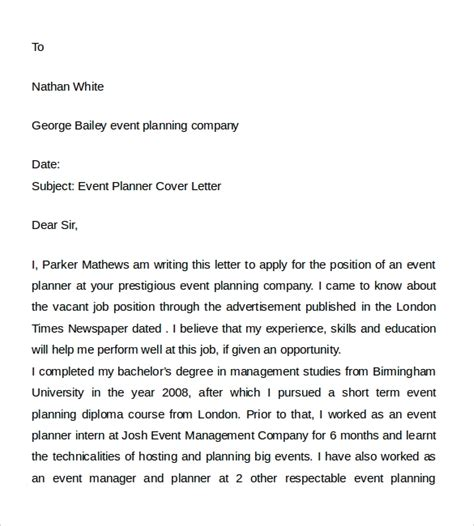 sample event planner cover letter   documents