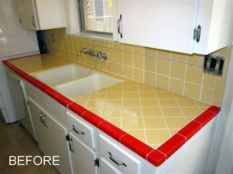 Old yellow and red tile countertops   Yelp
