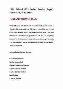 2006 Infiniti G35 Sedan Service Repair Manual Download By