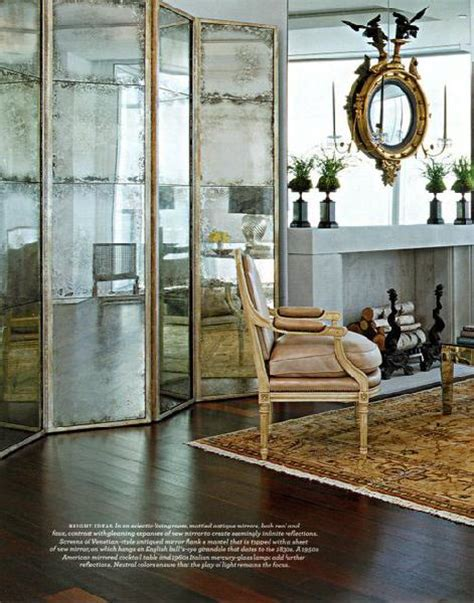 floor mirror ross mirrored floor screen transitional living room eddie ross