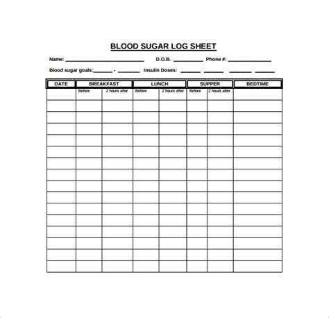 sle sugar log template 8 free documents in pdf