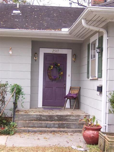 hanks purple front door w white trim gray