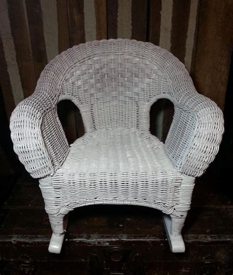 vintage white wicker wood child size toddler rocker