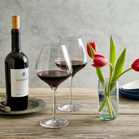 """Red wine glass and bottle. """"The One"""" Wine Glasses, 2 Red - Blue Apron"""