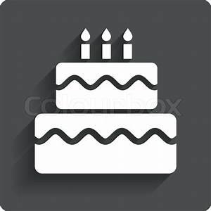 Birthday cake sign icon. Cake with burning candles symbol ...