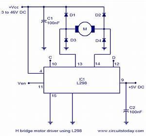 H Bridge Motor Control Circuit Using L298 Circuit Diagram