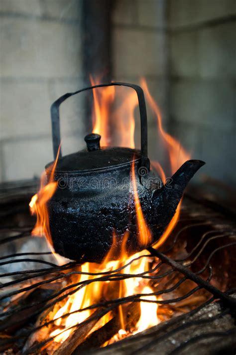 tea kettle  open fire stock image image  grill spout
