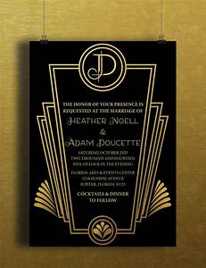 instant download black gold art deco great gatsby vintage With art deco party invitation templates