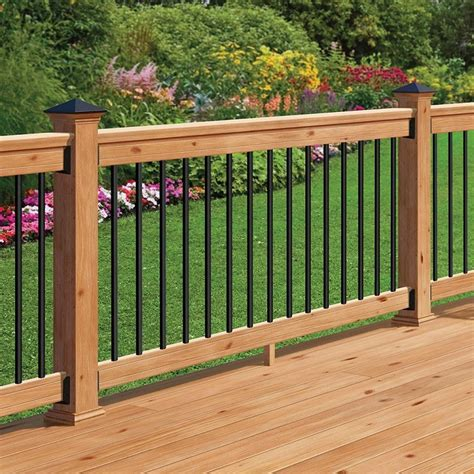 Home Depot Deck Rail Lighting by Western Cedar Railing Kit With Black Balusters
