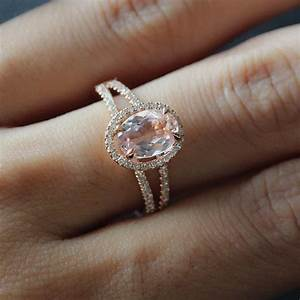 6x8mm oval morganite ring 14k rose gold split band diamond With rose gold engagement ring and wedding band