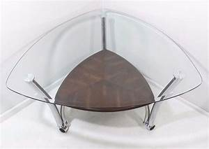 contemporary modern style chrome triangular glass top With glass top coffee table with wheels