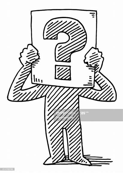 Cartoon Drawing Question Mark Holding Sign Vector