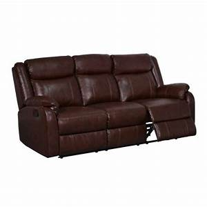 Global furniture usa leather reclining sofa in brown for Hometown usa furniture