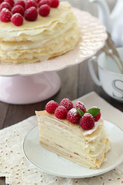 dessert crepes  ricotta cream  raspberries recipe
