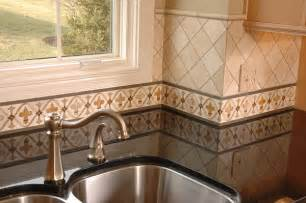 painted kitchen border tile backsplash